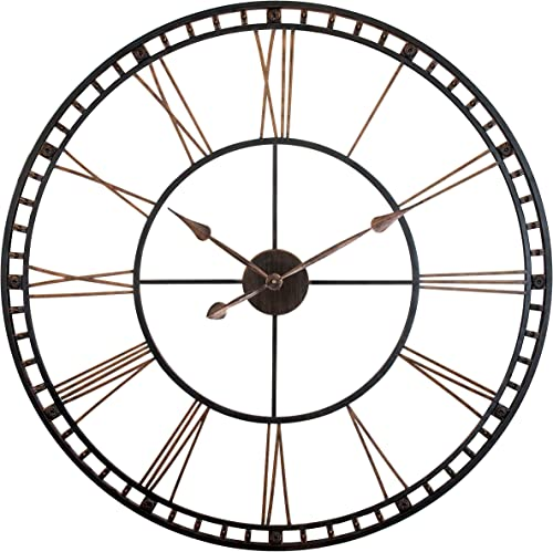Tower XXL Wall Clock 40 inch Open Face Wall Clock Infinity Instruments Large Metal Clock Quartz Movement Tower Huge Clock Bronze