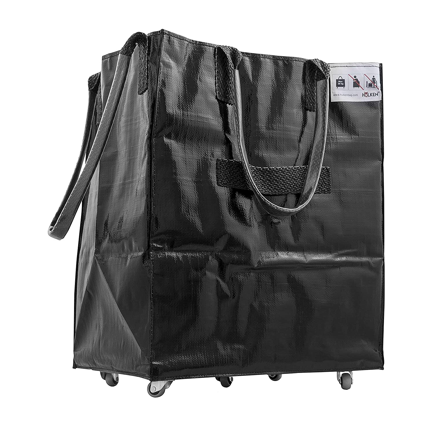HULKEN – Single Large, Shiny Black Grocery Shopping Bag With Stainless Steel Wheels, Lightweight, Can Carry Up To 66 lb, Folds Flat, 3 Built-In Handles