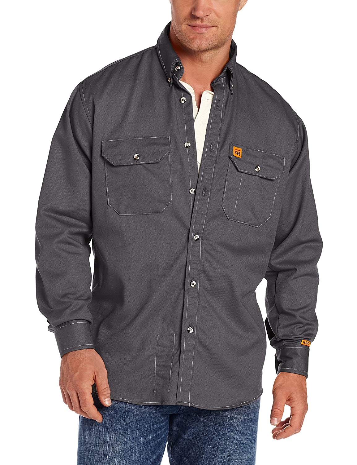 Wrangler Riggs Workwear Mens Fire Resistant Work Shirt with Two Front Pockets