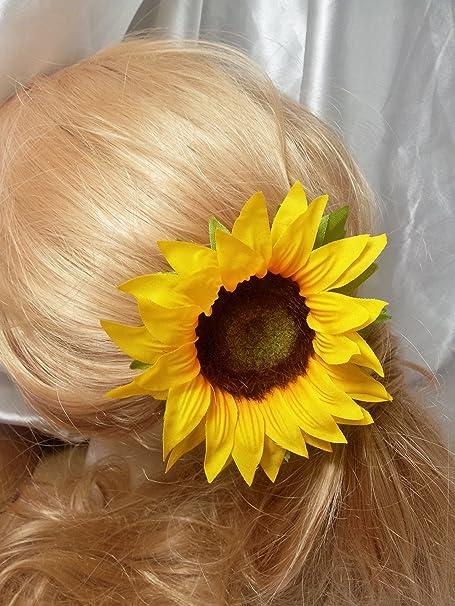 Sunflower yellow artificial hair flower clip amazon kitchen sunflower yellow artificial hair flower clip mightylinksfo