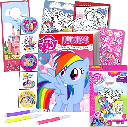Amazon.com: My Little Pony Coloring Book With Take-N-Play Set - 96-page  Coloring Book, My Little Pony Stickers, And Markers: Toys & Games