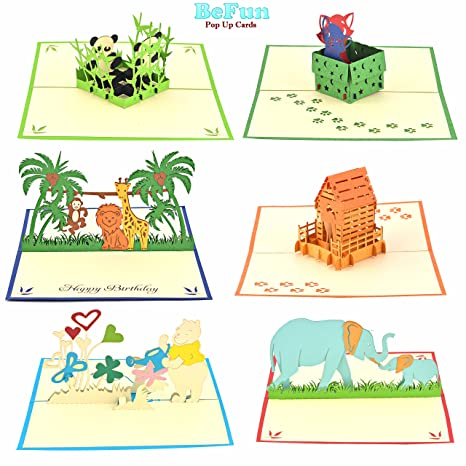 Amazon Jungle Animals Pop Up Greeting Cards Pack Of 6 Unique