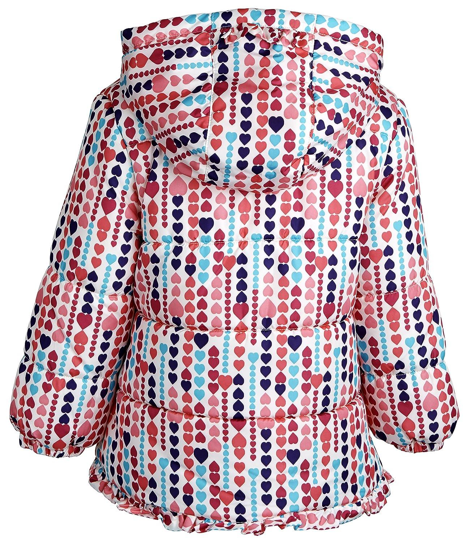 White 3T London Fog Little Girls Print Ruffle Puffer Coat with Scarf