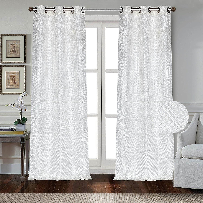 Dainty Home Carmen Grommet Panel Pair, 76x84'', White