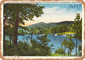 Wall-Color 7 x 10 Metal Sign - North Carolina Postcard - Lake Ridgecrest, Ridgecrest Baptist Assembly, Kitasuma Mountain in bac - Vintage Rusty Look
