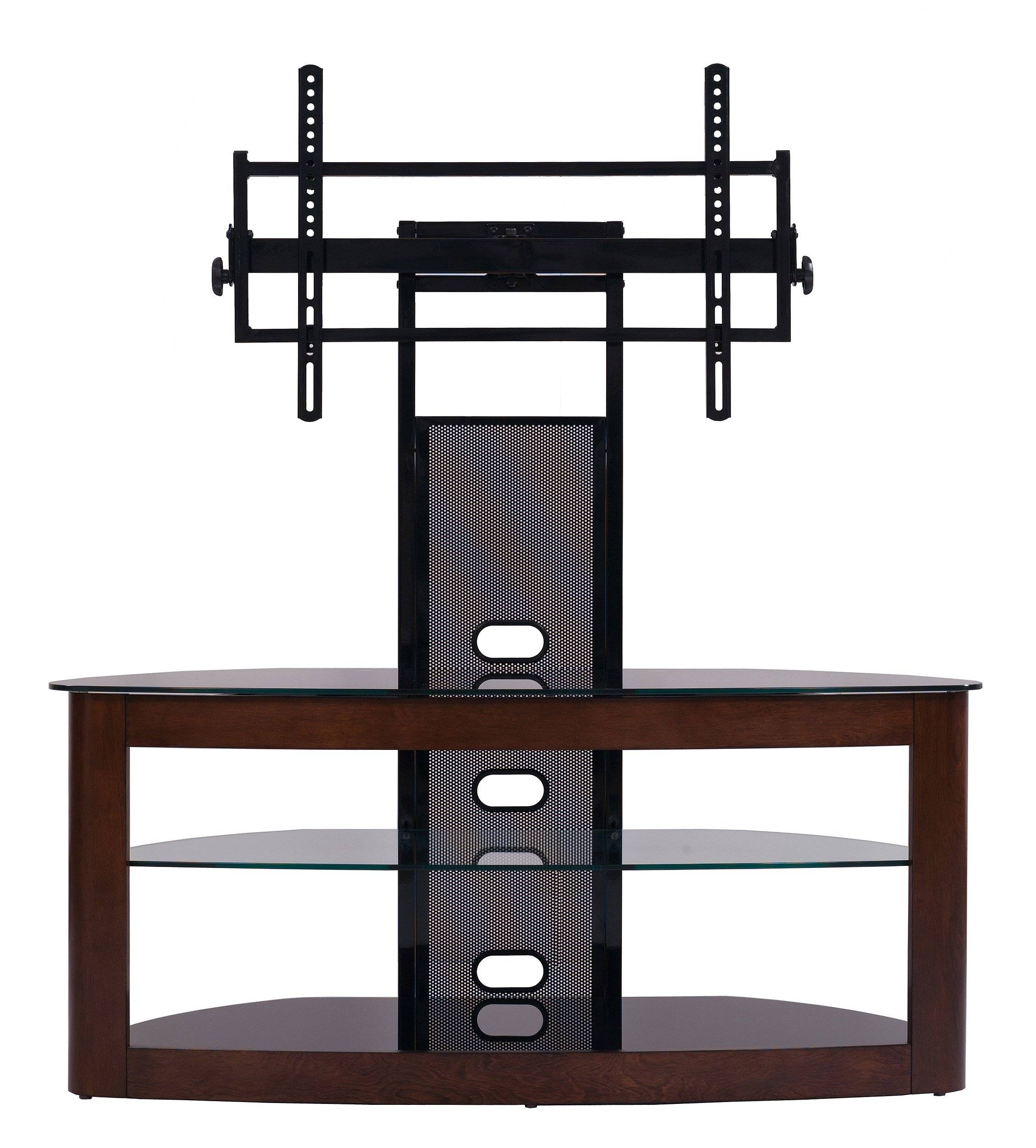 TransDeco TV Stand with Mount for 35-65'' TV Dark Oak/Black TD600DB