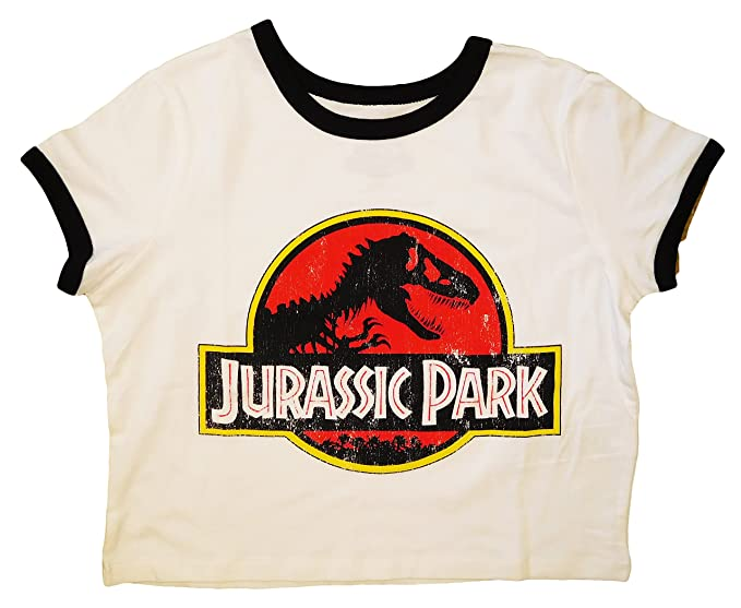 2476144325a Junior's Jurassic Park Ringer Crop Top (Large): Amazon.ca: Clothing ...