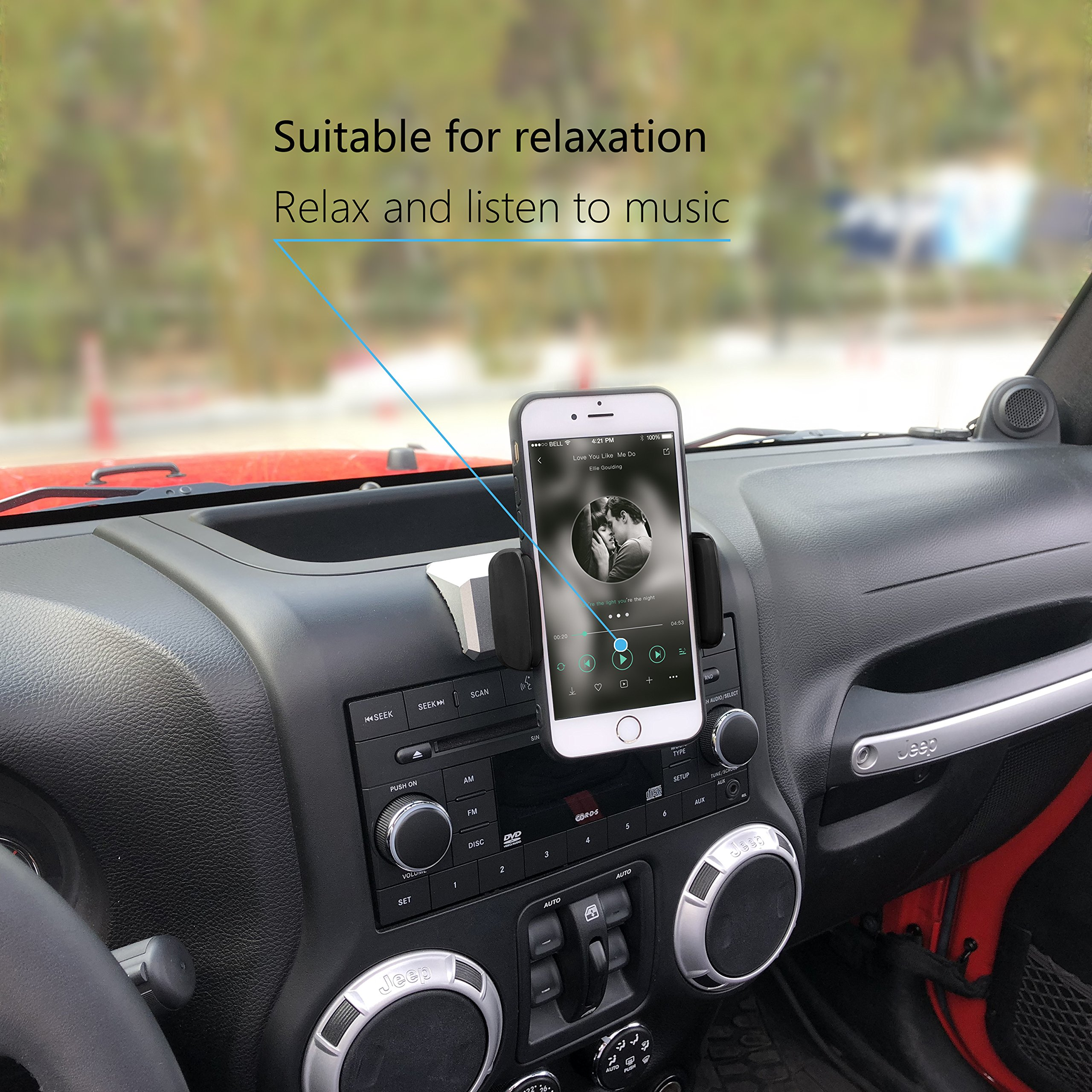 Sukemichi Universal Car Phone Mount for iPhone 7 Plus,8 Plus,X,7,6S,6,Samsung Galaxy Note S6 S7,Google Nexus,Huawei,Car Phone ipad Holder for Jeep 2012-2017 JK Wrangler,Silvery
