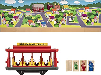 Amazon Com Pepperell Mister Rogers Trolley Set Wood Includes 1 Trolley And 4 Neighborhood Friends 11 X 3 5 X 6 5 Inches Multicolor Toys Games