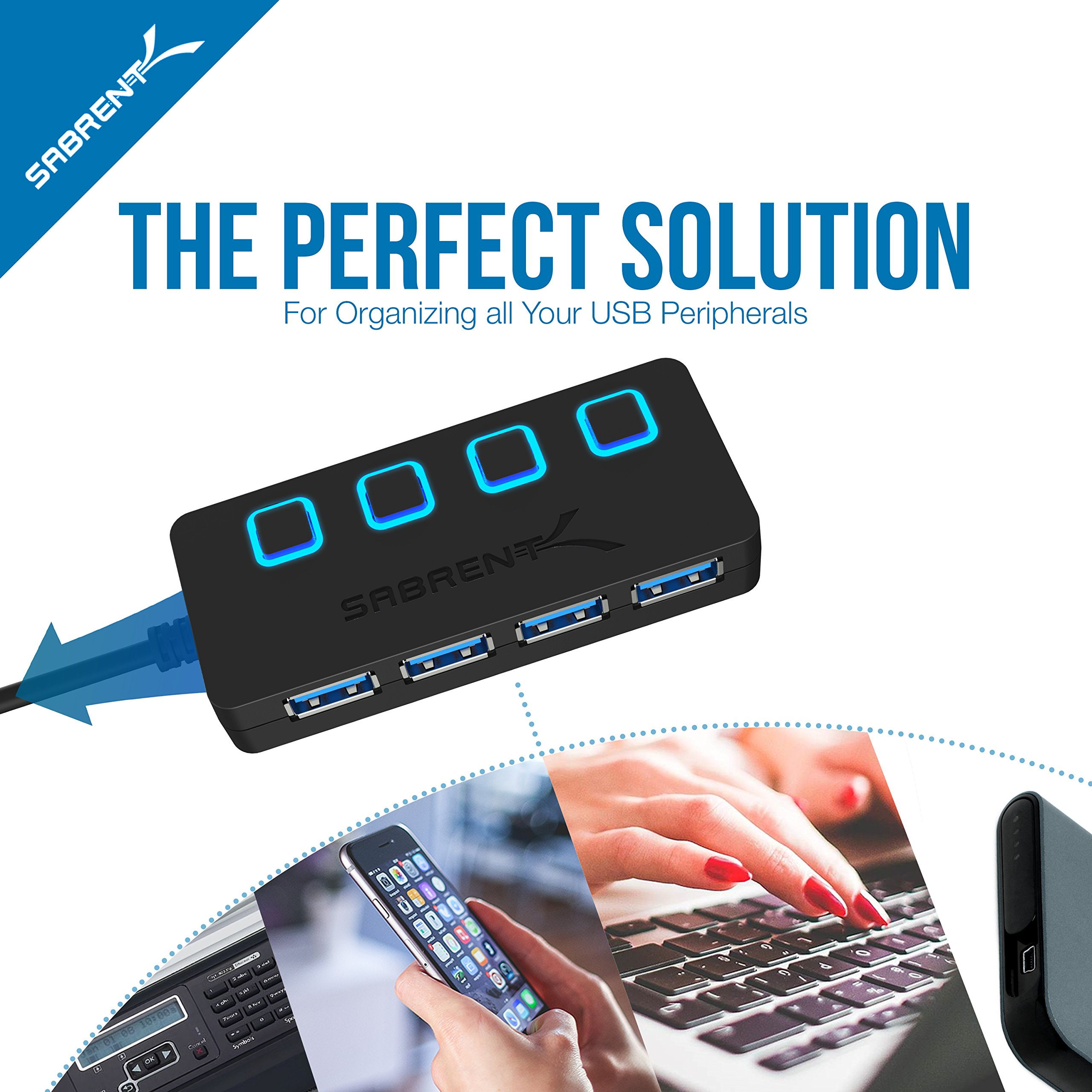 Sabrent USB Type C to 4-Port USB 3.0 Hub with Individual LED Lit Power Switches (HB-UMC4) by Sabrent (Image #5)