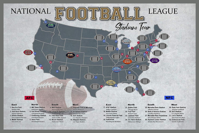 Pro Football Stadium Tour Scratch Off Map; 12in. X 18in. Professional Football Stadium Bucket List Tracker