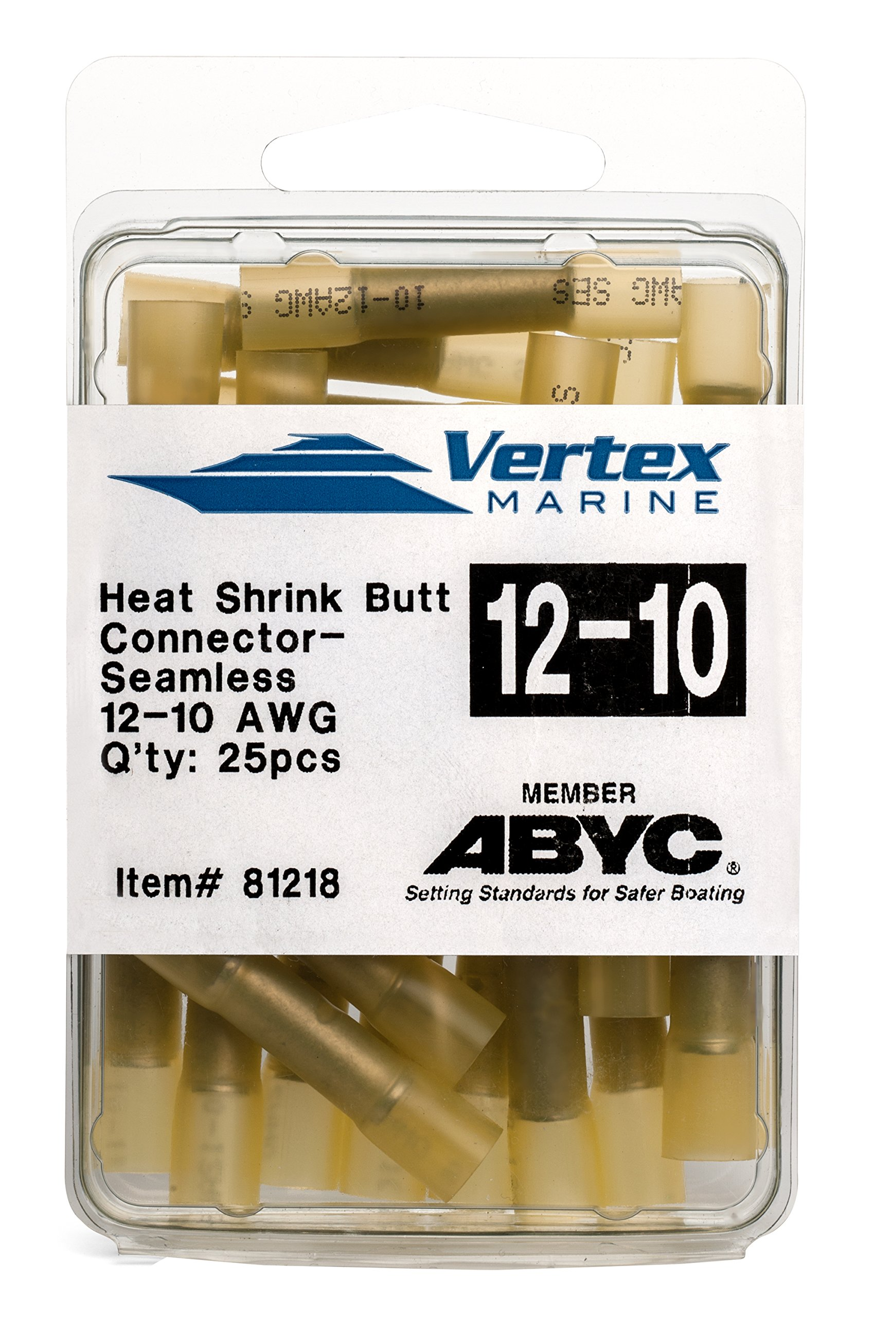 Butt Connector Marine Grade - Adhesive Lined Heat Shrink - A81218 - 12-10 AWG - 25 Pack