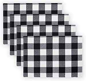 "Elrene Home Fashions Farmhouse Living Buffalo Check Placemat Set of 4, 13"" x 19"", Black/White 4"