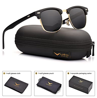 f3b6b21072d Mens Clubmaster Sunglasses Polarized Womens  UV 400 Protection 51MMby LUENX  with Case