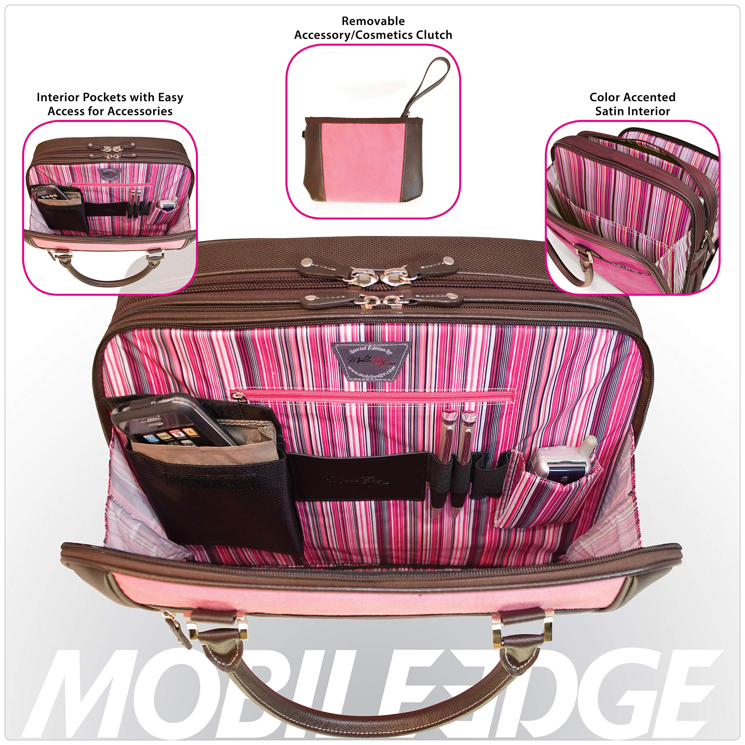Mobile Edge Women's Black w/Pink, Checkpoint Friendly Element Laptop Briefcase 16 Inch PC, 17 Inch MacBook, Business, Travel MESFEBX by Mobile Edge (Image #4)