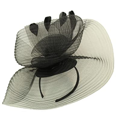 Something Special Fancy Feathers Ribbed Fascinators Headband millinery  Cocktail Derby Hat Black f7803687455