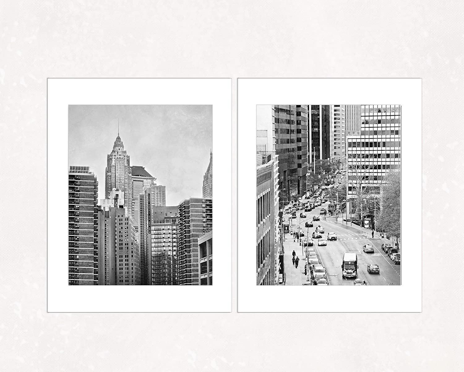 Amazon com black and white nyc urban decor set of 2 manhattan street photos 5x7 inch matted prints handmade