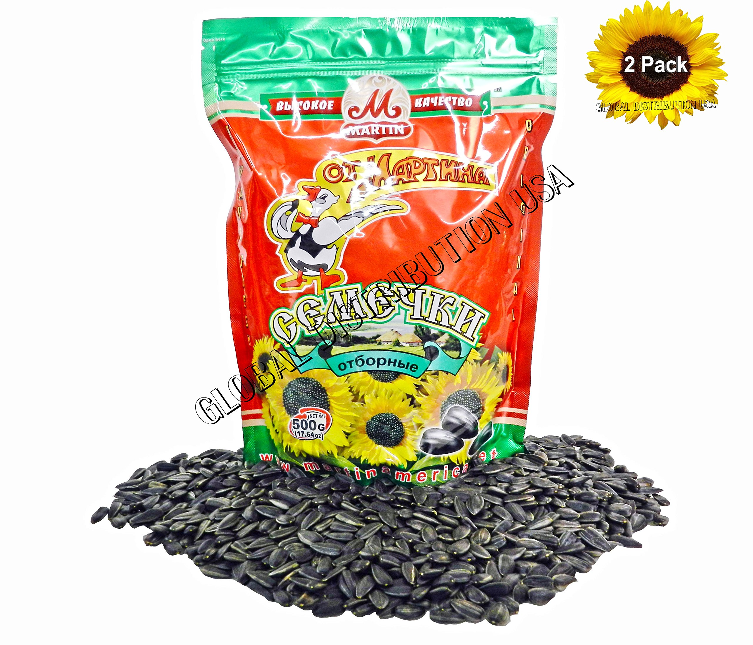 Premium Roasted Sunflower Seeds by Mr.Martin (Ot Martina) Unsalted Non-GMO 500G Pack of 2