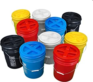 Bucket Kit, Ten Multi Colored 5 Gallon Buckets with Matching Gamma Seal Lids