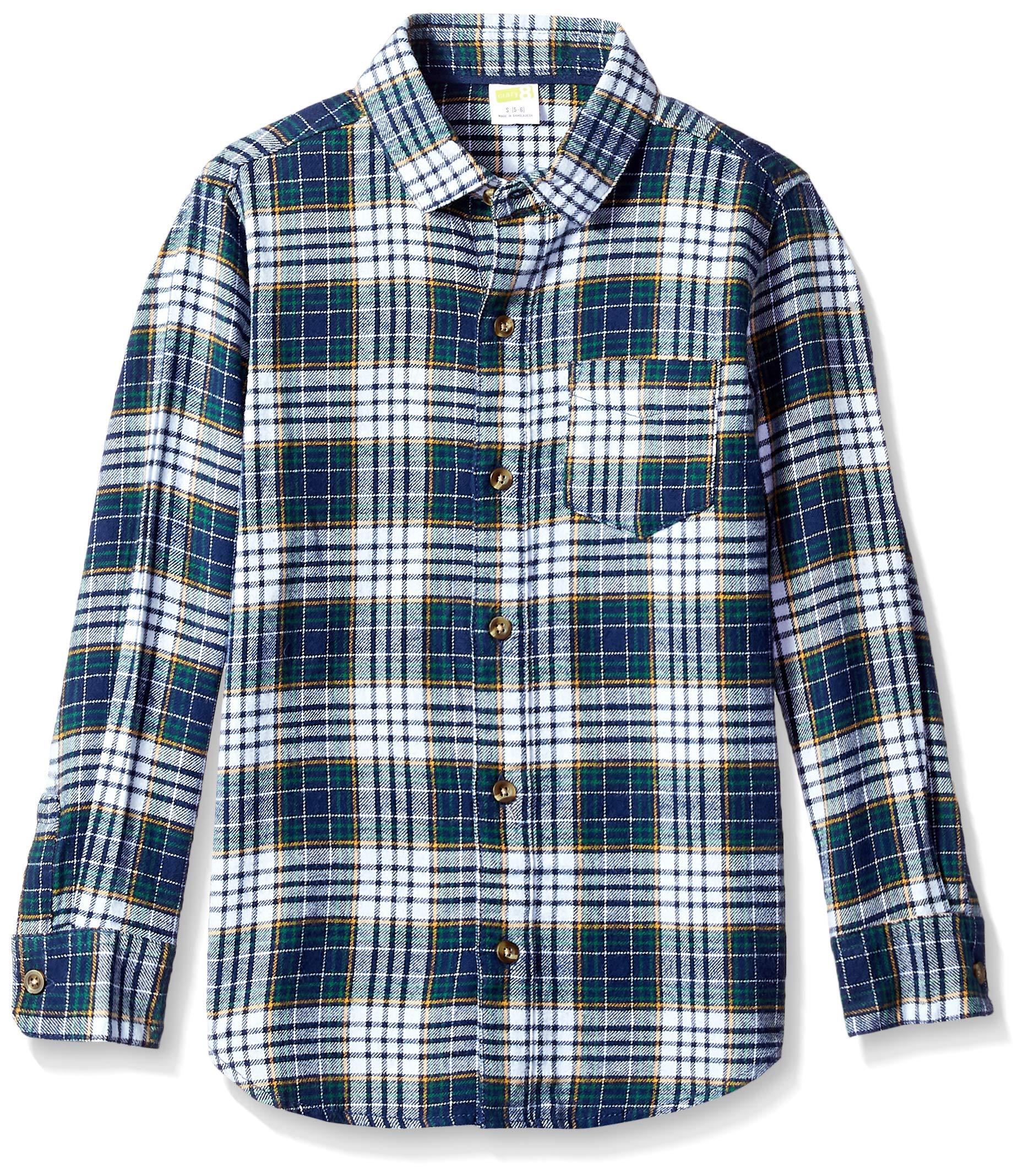 Crazy 8 Boys' Big Long Sleeve Pocket Button Up Shirt, Blue Plaid, L by Crazy 8 (Image #1)