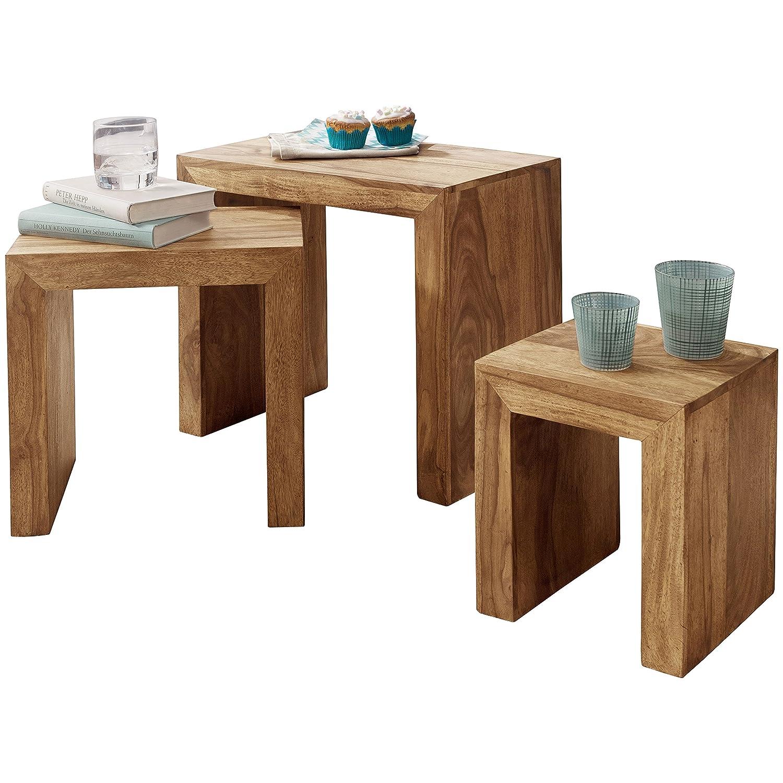 Wohnling 3er Set Satztisch Massivholz Akazie Wohnzimmer-Tisch Landhaus-Stil Beistelltisch Naturholz Couchtisch Natur-Produkt Wohnzimmermöbel Unikat Massivholzmöbel Anstelltisch Echtholz dunkel-braun