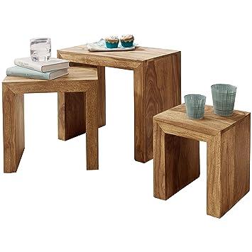 Wohnling 3er Set Satztisch Massivholz Akazie Wohnzimmer Tisch