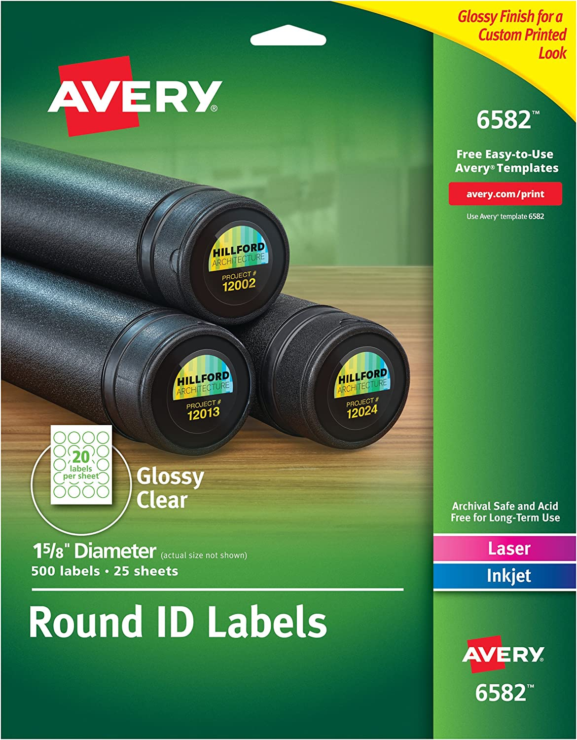 "Avery Glossy Clear Round Labels, 1.625"" Diameter, Pack of 500 -- Make Custom Stickers (6582)"