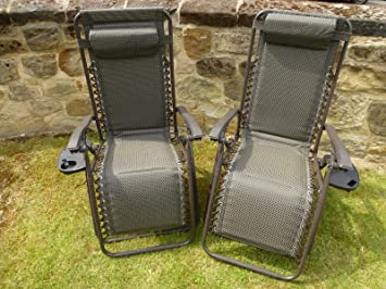 set of 2 brown padded sun lounger garden chairs with drinks tray