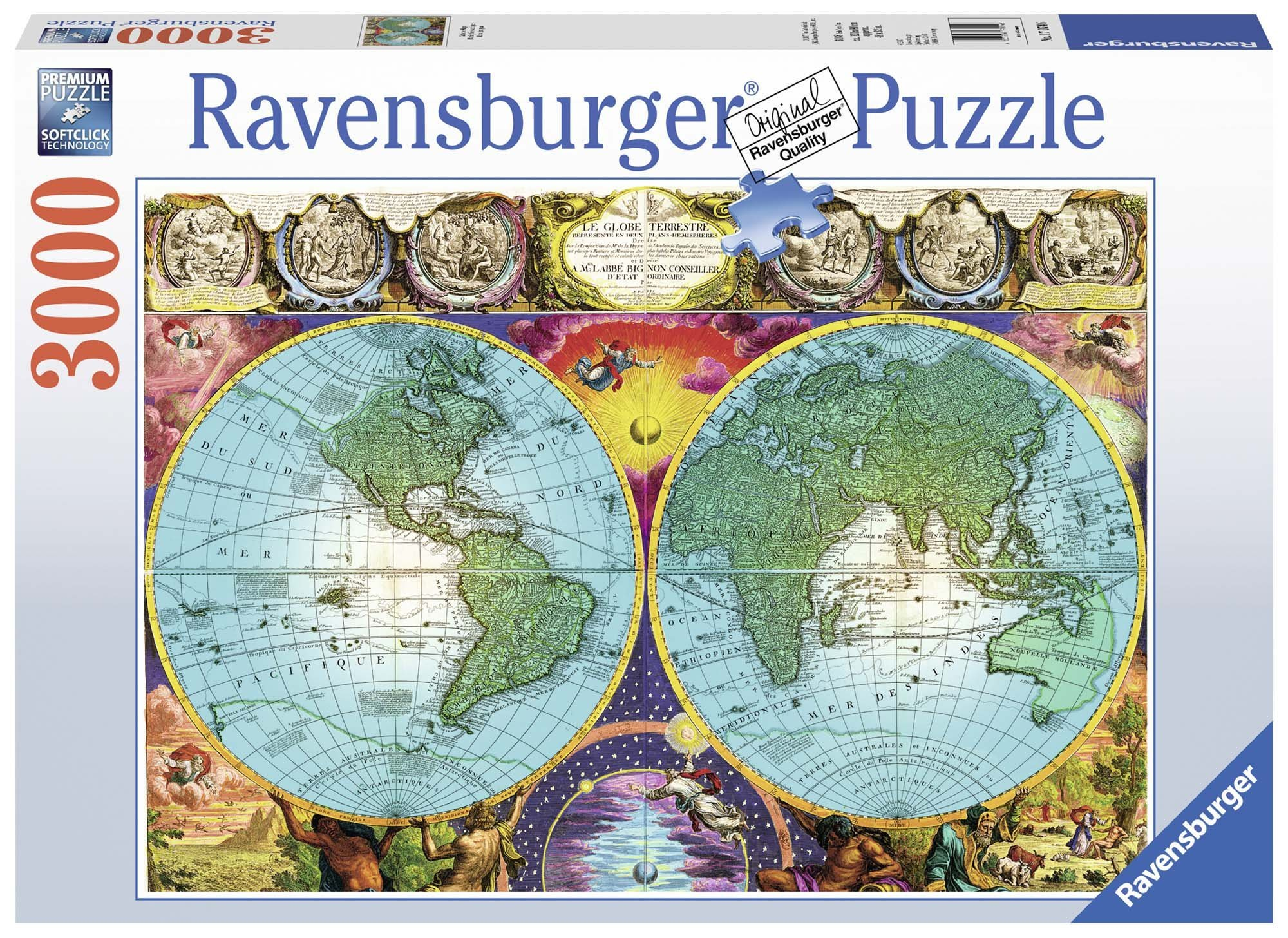Ravensburger Antique Map Puzzle 3000 Piece Jigsaw Puzzle for Adults - Softclick Technology Means Pieces Fit Together Perfectly by Ravensburger