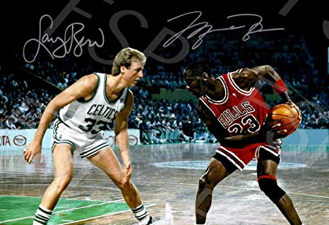 2ffe0ca2456 Image Unavailable. Image not available for. Color: Larry Bird Michael  Jordan Autograph Replica Poster Print - Boston Celtics Chicago Bulls