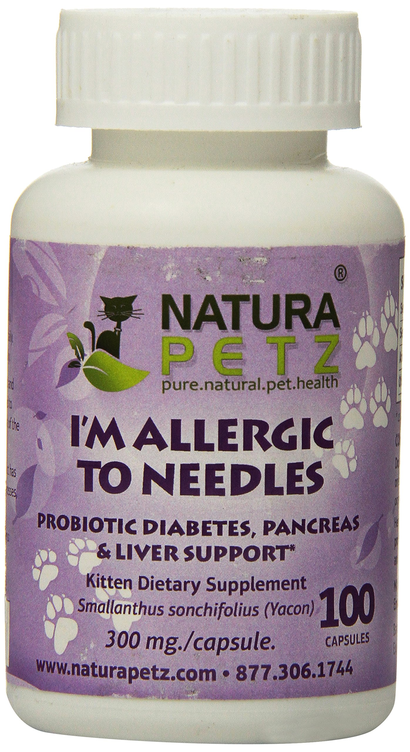 Natura Petz I'm Allergic to Needles Probiotic Diabetes, Pancreas, Liver and Insulin Resistance Support for Kittens, 100 Capsules, 300mg Per Capsule by Natura Petz