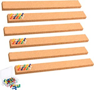 "SUNGIFT Cork Strip Bulletin Bar Strips Set 6 Pieces, 2 x 15 Inch, 1/2""Thick Frameless Corkboard Strip for Wall Self-Adhesive Corkboards with 50 PCS Pushpins for Office, School and Home"