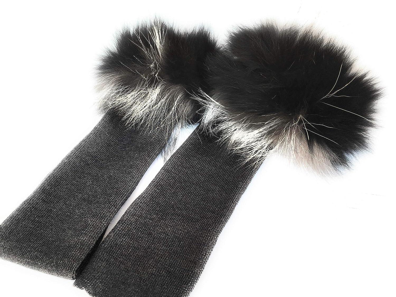 Gioielli di Pelo - Manicotti in lana con polsino in pelliccia vera di volpe lungh. 45 cm Made in Italy