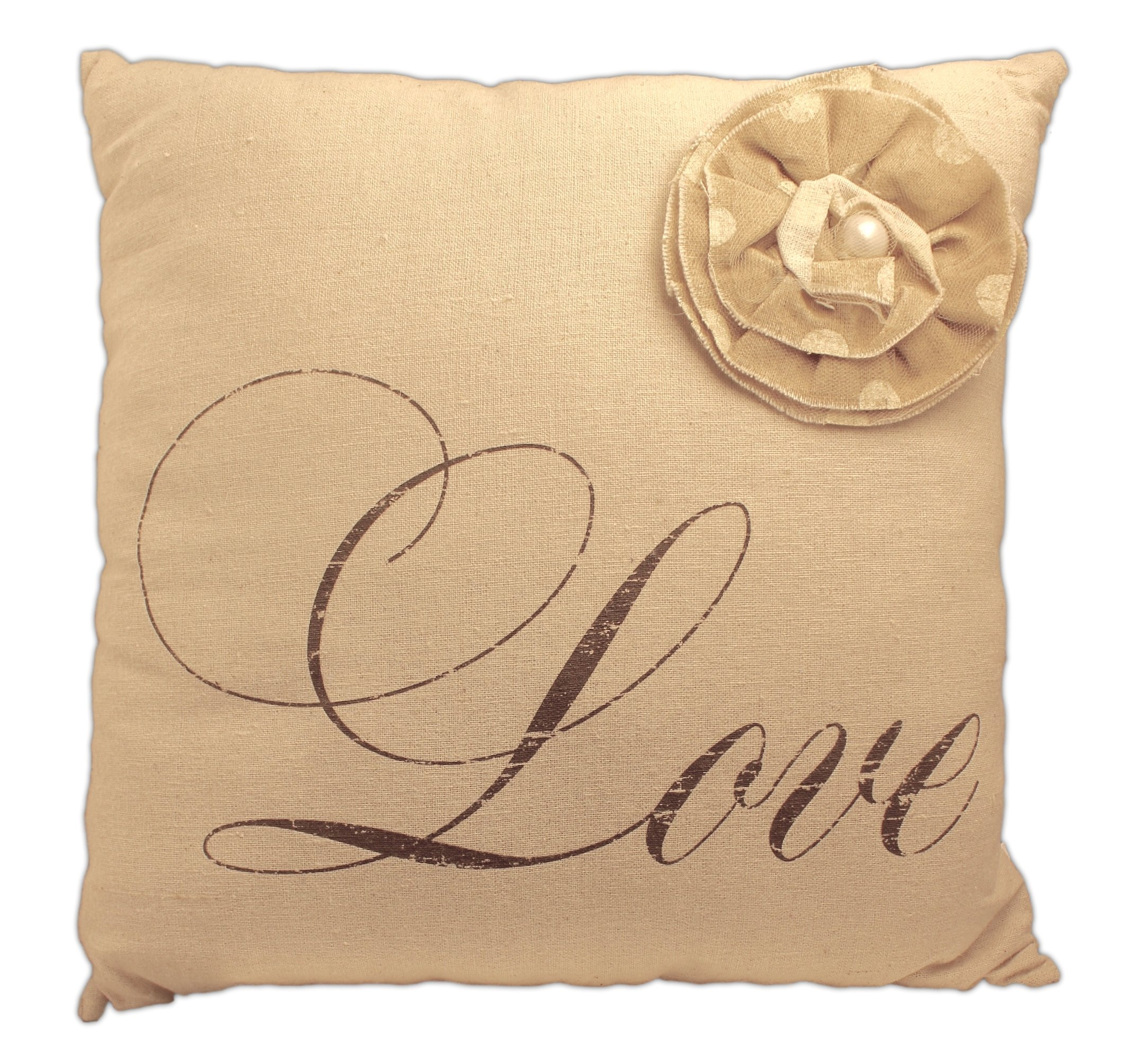 Honey & Me Rustic Style Decorative Throw Pillow with Flower Accent (Love)