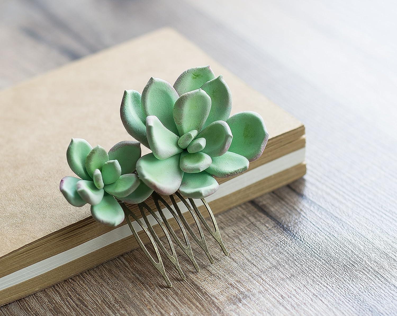 Succulent hair comb - succulent wedding - succulent headpiece - flower hair comb - botanical hair piece - flower headpiece - tropical comb