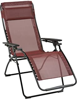 Lafuma Futura Zero Gravity Chair, Black Steel Frame, Ruby