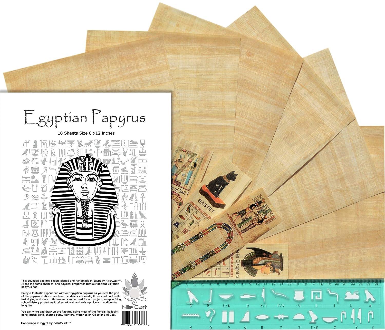 Bambini egiziano Paparyus fogli bianchi 8/x12/in con egiziano stencil righello e segnalibri fatti a mano in Egitto Pack of 20 Blank Sheets Stivaletti da pioggia zebrati