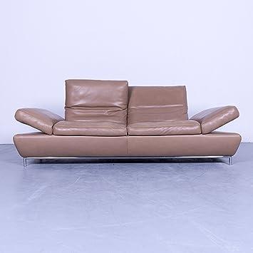 Koinor Designer Sofa Hell Braun Semi Anilin Leder Dreisitzer Couch Funktion  Echtleder Modern #4378