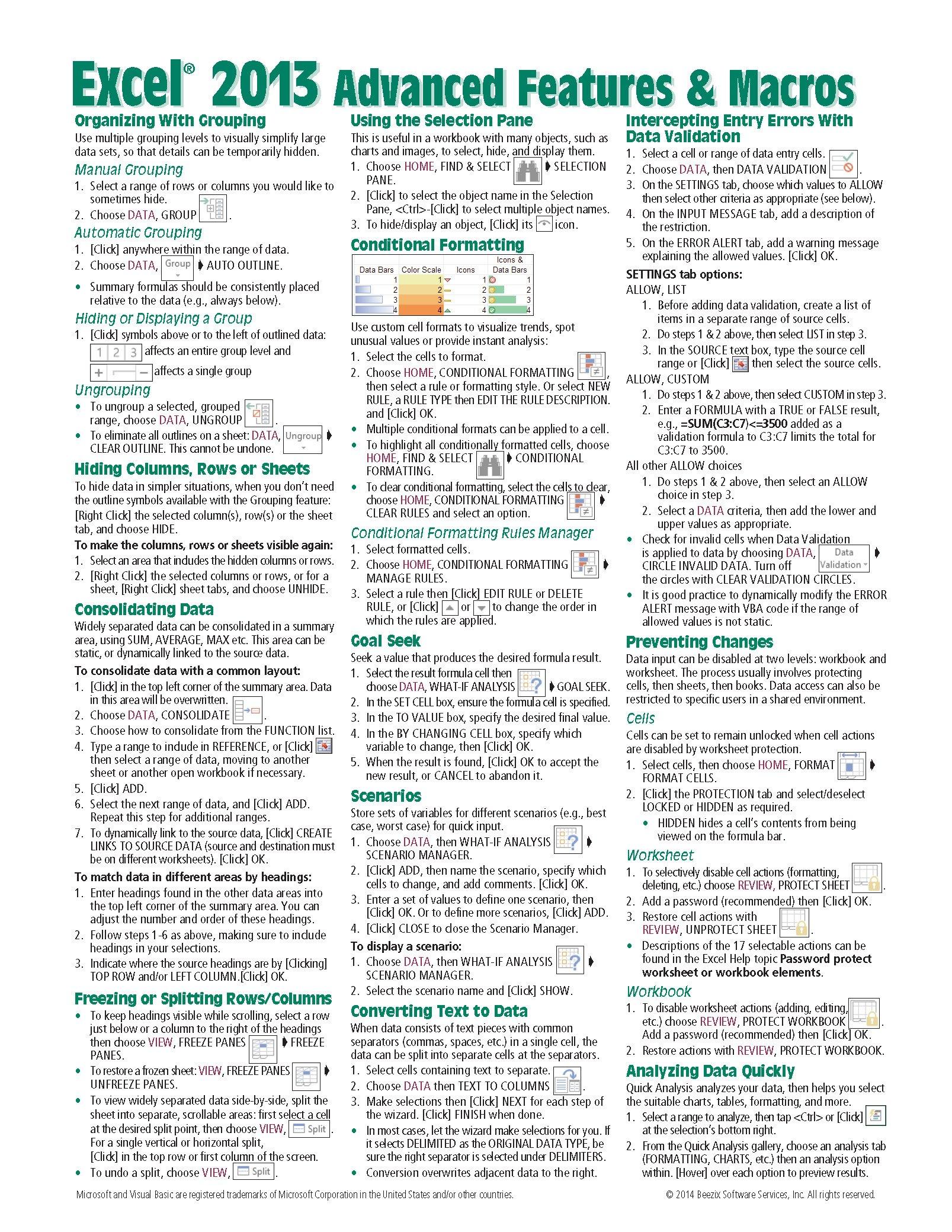 Microsoft Advanced Reference Instructions Shortcuts