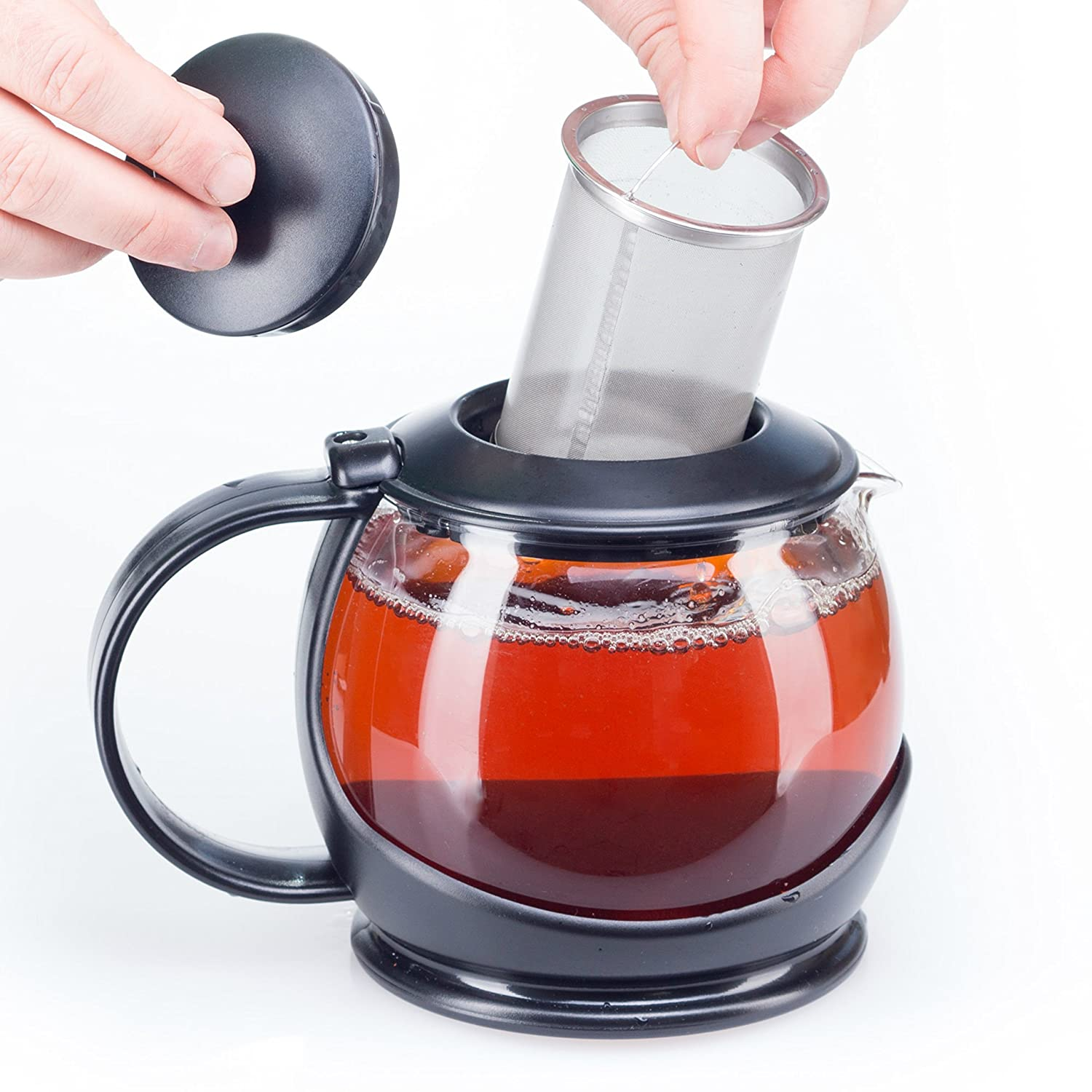 Glass Teapot with Infuser and Warmer Sleeve, Blooming Loose Leaf Tea Pot, Tea Infuser Holds 4 -5 Cups - 2 Infusers Included