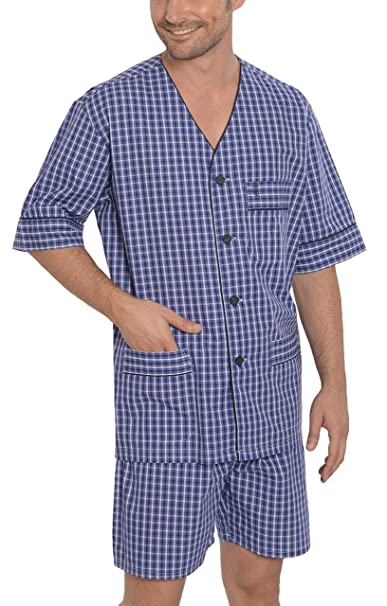 El Búho Nocturno Pijama de Caballero Corto Moderno Estampado/Ropa de Dormir para Hombre - Punto, 100% Algodón - Color Blanco y…