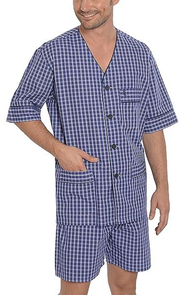 Pijama de Caballero de Manga Corta clásico a Cuadros/Ropa de Dormir para Hombre -