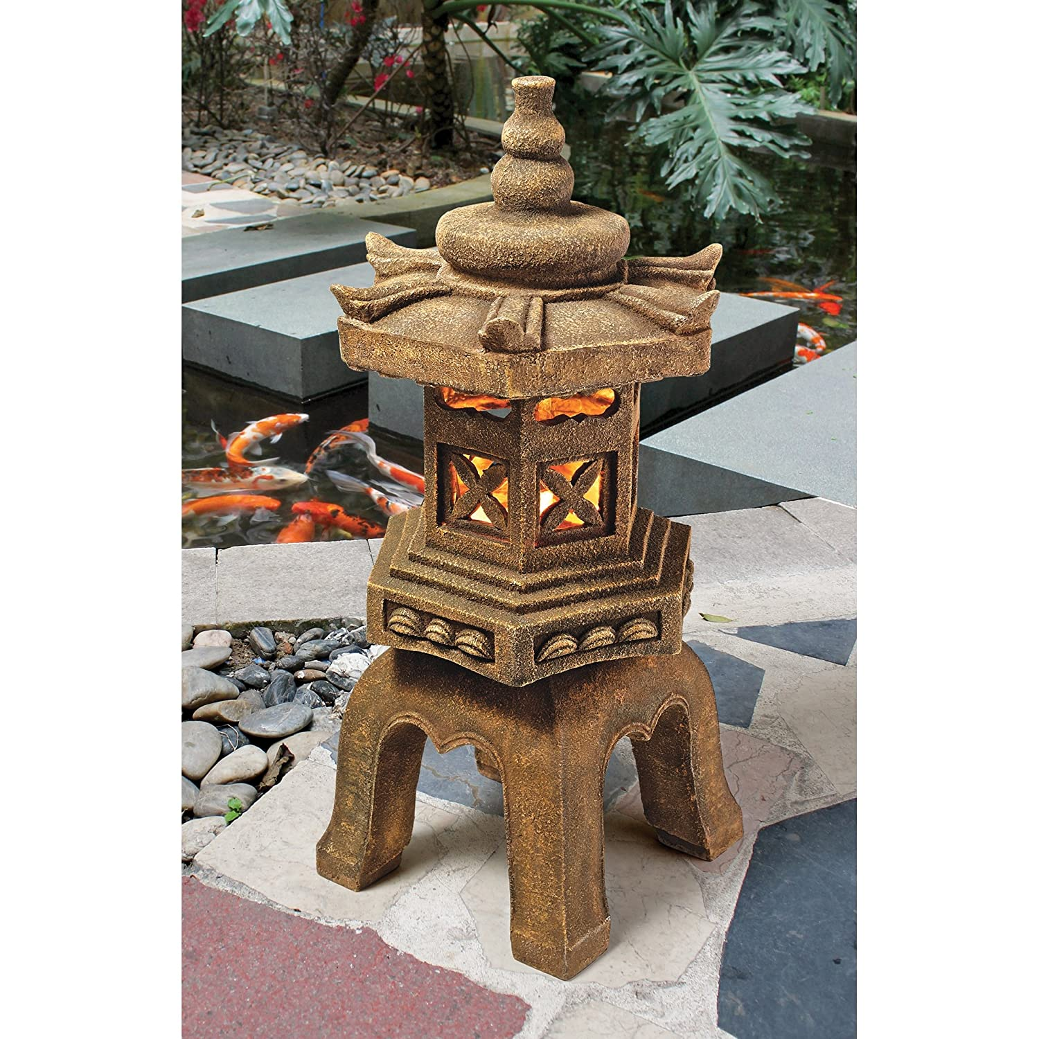 Amazon.com : Design Toscano Sacred Pagoda Lantern Illuminated Statue :  Garden U0026 Outdoor