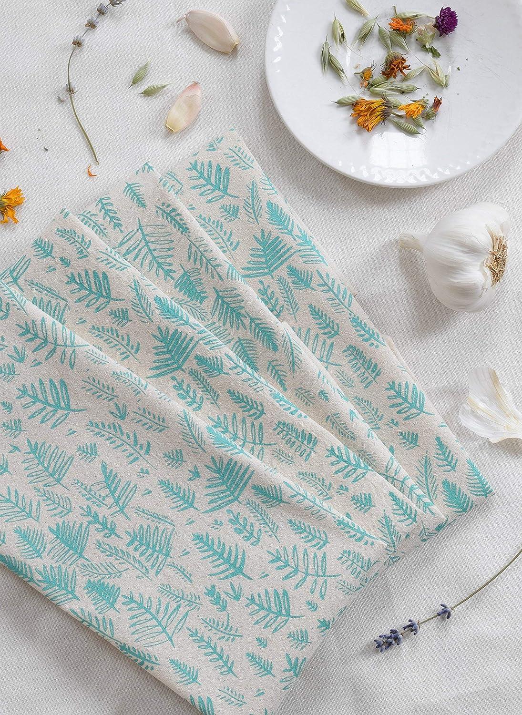 Cloth Dinner Napkins - Set of 4 - Fern Print - Handmade - Hand-printed - Unpaper Towels - Cotton Napkins - Washable - Reusable
