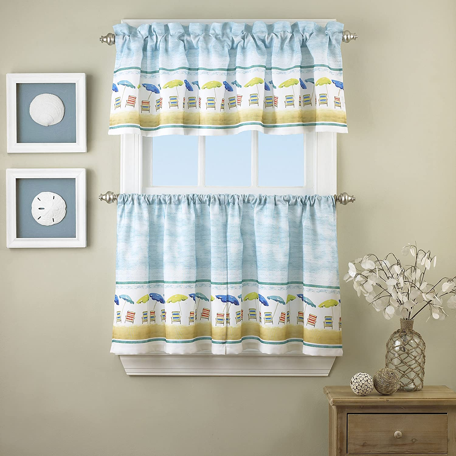 LORRAINE HOME FASHIONS St. Tropez Window Curtain Tier Pair, 60