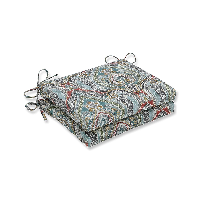 blueee 18.5  x 16  x 3  Pillow Perfect Outdoor Cushion, 621319, 100% T-Spun Polyester, blueee, 20  x 20  x 3