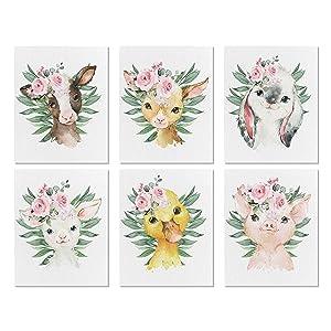Set of 6 Farm Floral Nursery Decor for Girls - Farm Animal Canvas Wall Art - Baby Room Animal Canvas Prints - Baby Farm Babies Wall Decor - Girls Room Art - 8x10