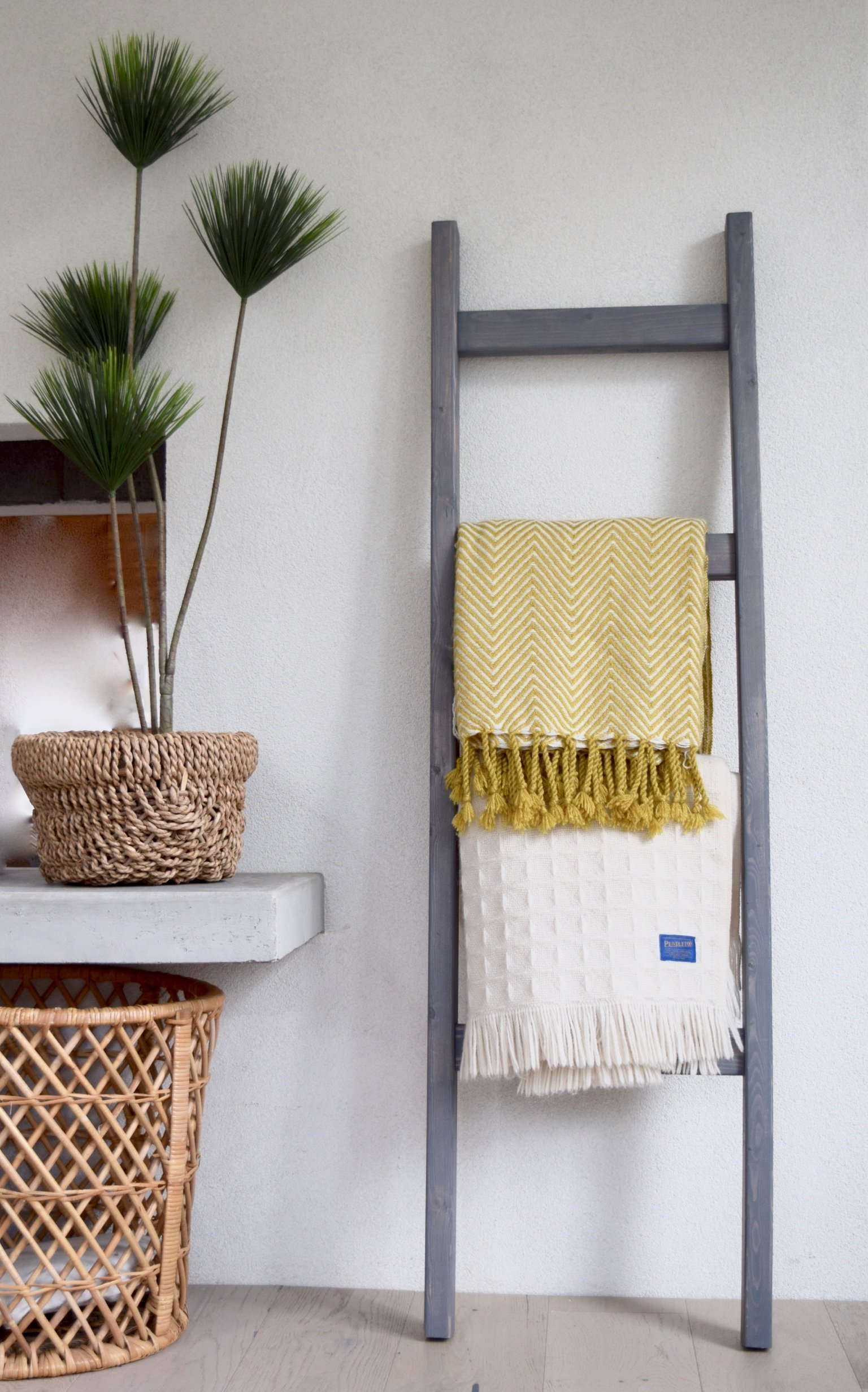 Bits + Bushel, 5 Ft Wooden Decorative Ladder | 4 Rung, Stained Weathered Gray | For Home, Stores, Quilts, Bathroom Towels, Blankets & More