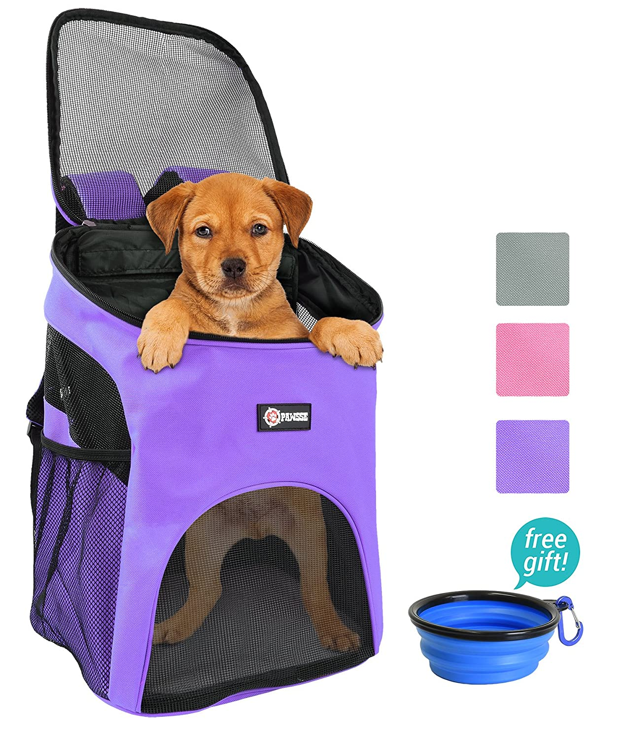 Purple Pawsse Pet Carrier Backpack for Small Cats Dogs Rabbit, Breathable Mesh Pup Pack Outdoor Travel Carrier for Walk, Hiking, Cycling Purple