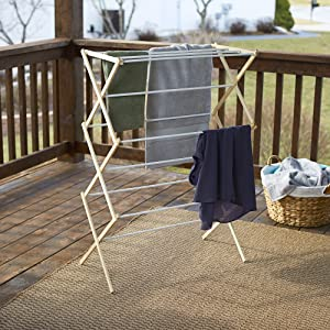 Image: Household Essentials | Collapsible Folding Wooden Clothes Drying Rack for Laundry | Pre assembled